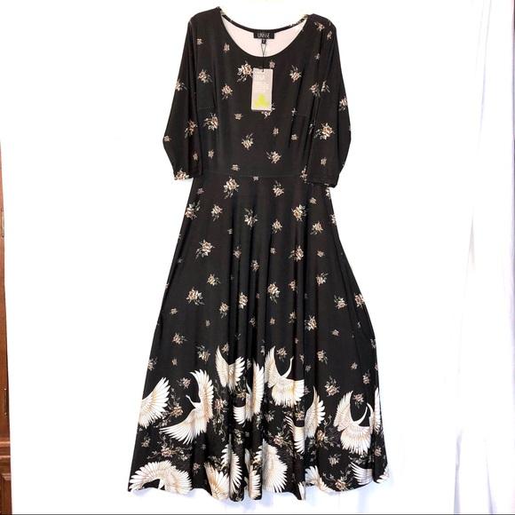 915b13ff4131 LBisse Dresses   Nwt Black Midi Dress Floralbirds Women Sm   Poshmark
